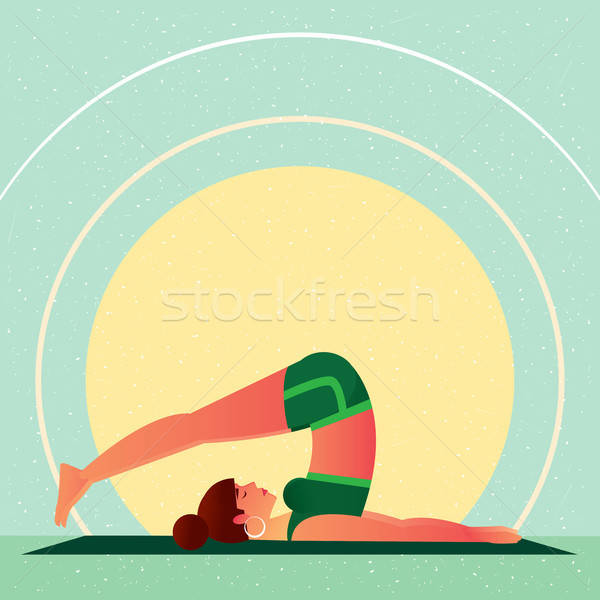 Girl lies in Yoga Plow Pose or Halasana Stock photo © alexanderandariadna