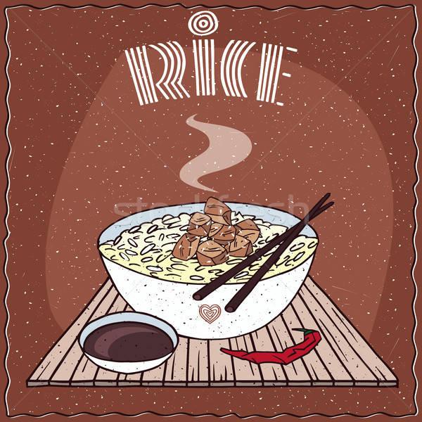 Stockfoto: Asian · rijst · kip · indian · schotel · gestoomd