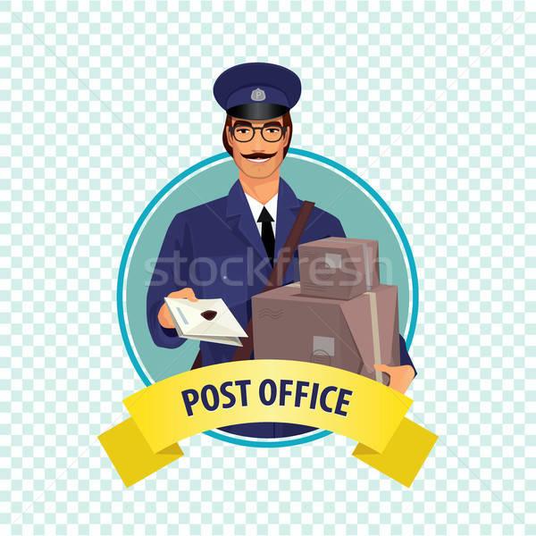 Icon witte postbode man Stockfoto © alexanderandariadna