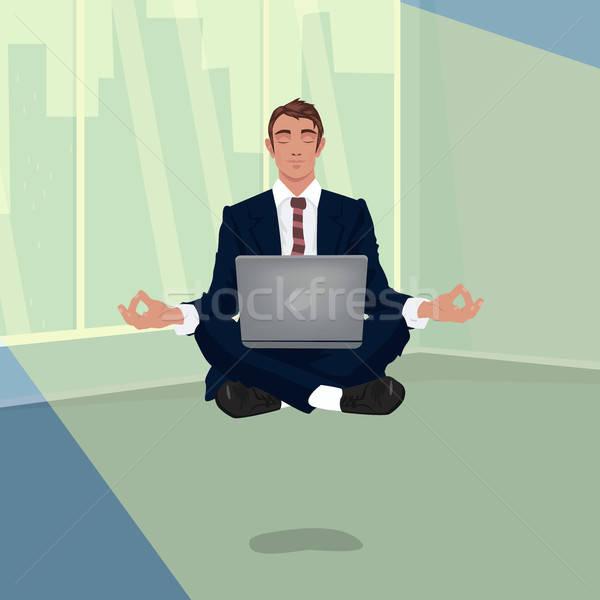 Businessman hovering in office in lotus pose Stock photo © alexanderandariadna