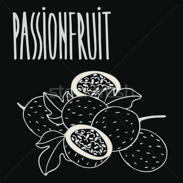 Pizarra maduro pasión frutas tiza Foto stock © alexanderandariadna