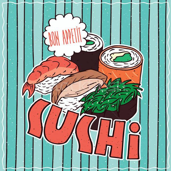 食品 ポスター 寿司 明るい カラフル ストックフォト © alexanderandariadna