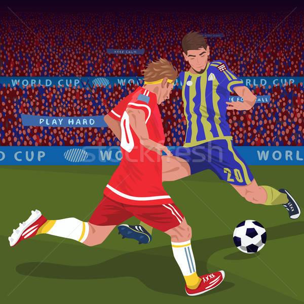 Fútbol jugadores pelota fútbol dos Foto stock © alexanderandariadna