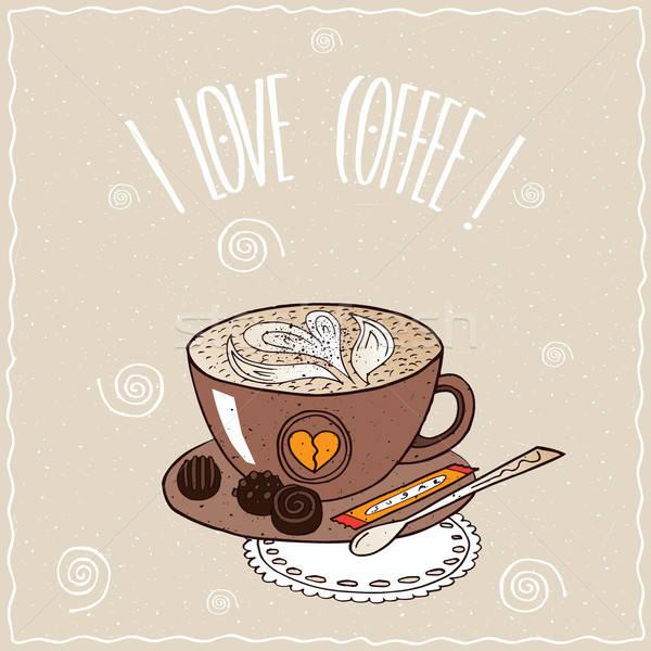 Кубок кофе шаблон молоко пена Cute Сток-фото © alexanderandariadna