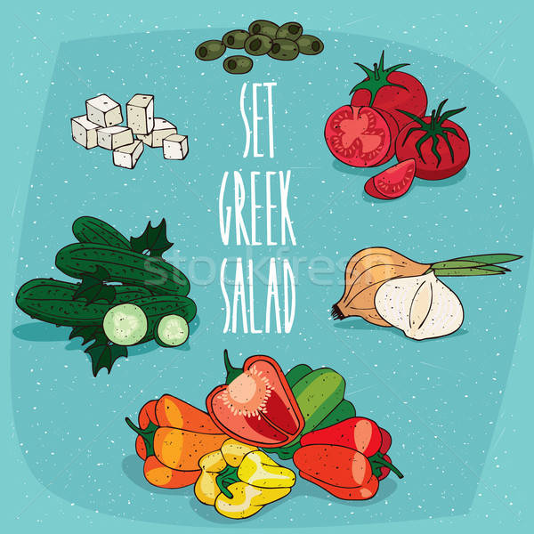 Conjunto isolado comida produtos grego salada Foto stock © alexanderandariadna