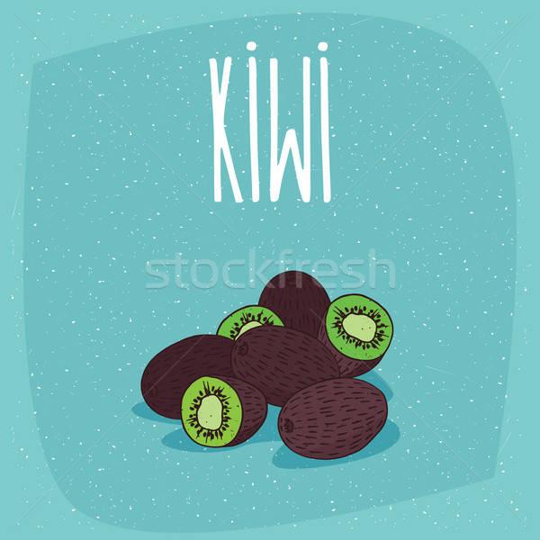 Isolated ripe kiwi fruits whole and cut Stock photo © alexanderandariadna