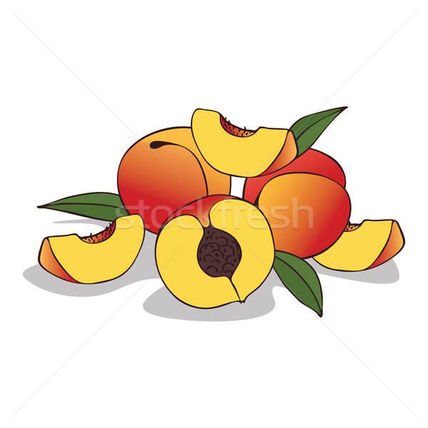 зрелый персика фрукты белый Сток-фото © alexanderandariadna