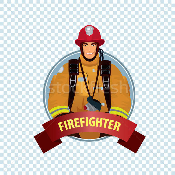 Stock photo: Round icon on white background with firefighter