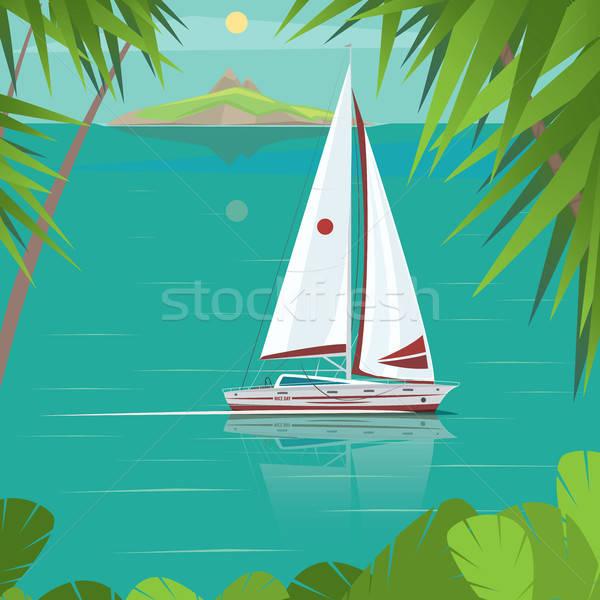 セーリング ヨット 過去 島々 側面図 ストックフォト © alexanderandariadna