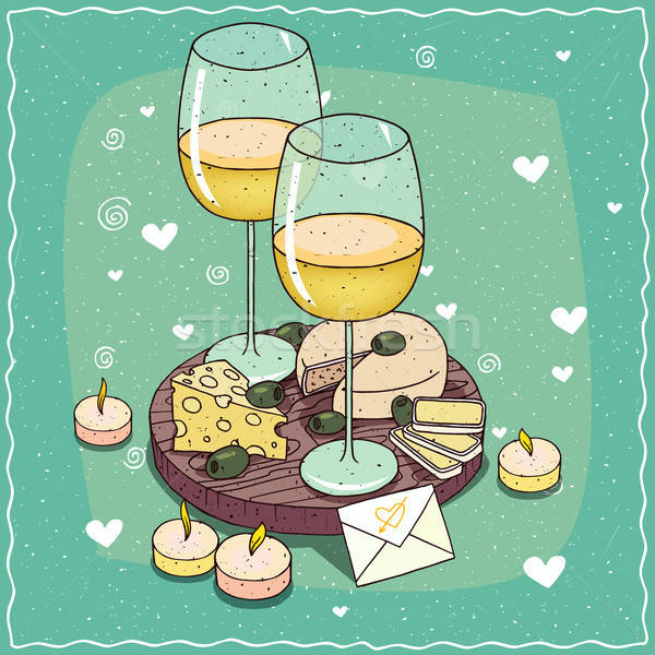 Composition with white wine glasses and cheese Stock photo © alexanderandariadna