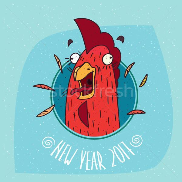 Haan haan schreeuwen frame cartoon grappig Stockfoto © alexanderandariadna