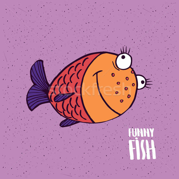 Cute fish with smile in handmade cartoon style Stock photo © alexanderandariadna