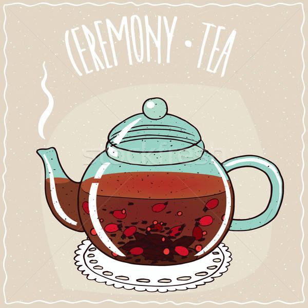 Glass teapot with tea rosehip Stock photo © alexanderandariadna