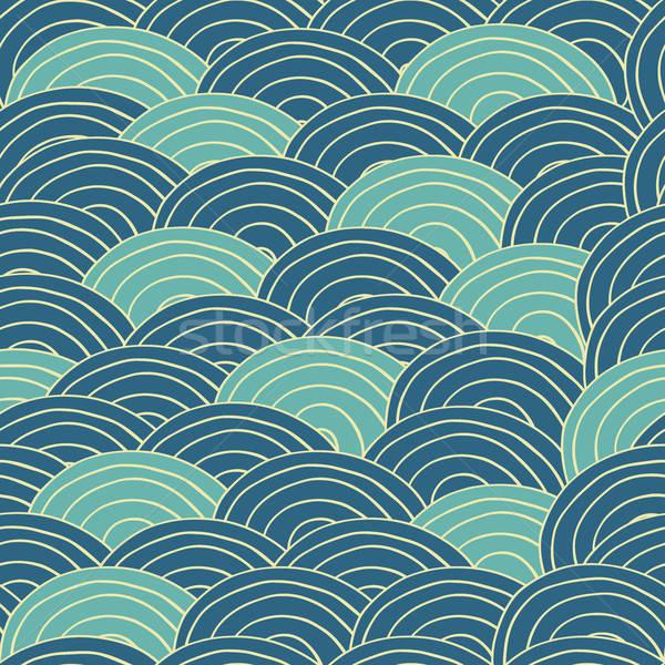 Végtelenített kézzel készített minta kék tenger hullámok Stock fotó © alexanderandariadna