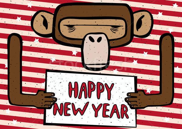 Happy New Year funny monkey Stock photo © alexanderandariadna