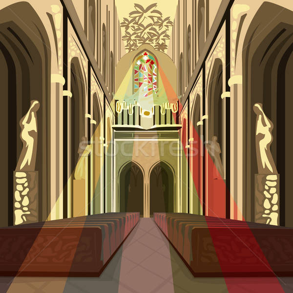 Multicolor sun rays from stained glass in Church Stock photo © alexanderandariadna