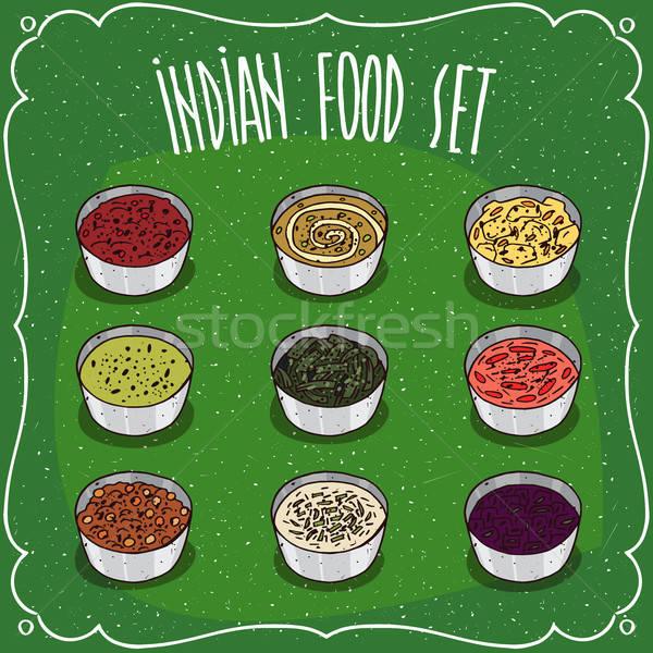 Set of Indian seasoning sauces like chutney Stock photo © alexanderandariadna