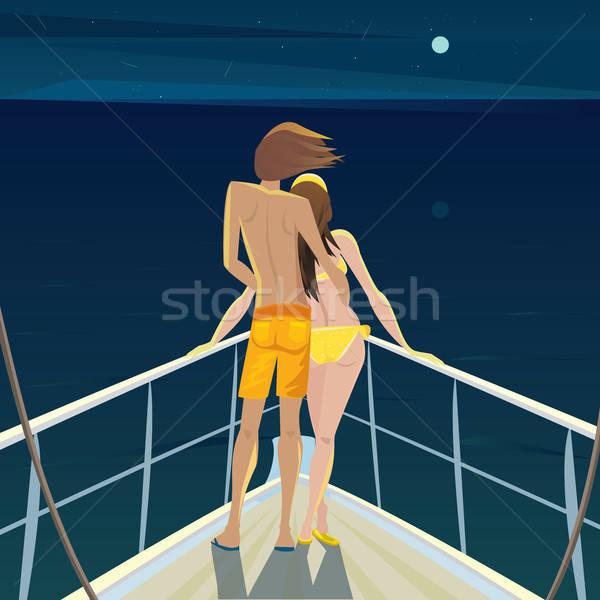 Casal barco noite estrelas moço beautiful girl Foto stock © alexanderandariadna