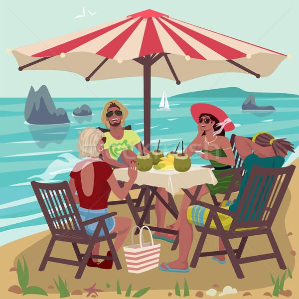 2 カップル 食べ 熱帯ビーチ 小さな 座って ストックフォト © alexanderandariadna