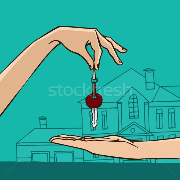 Main maison clé cadeau vente Photo stock © alexanderandariadna