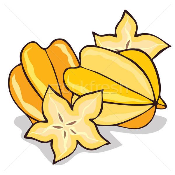 Isolate ripe starfruit or carambola Stock photo © alexanderandariadna