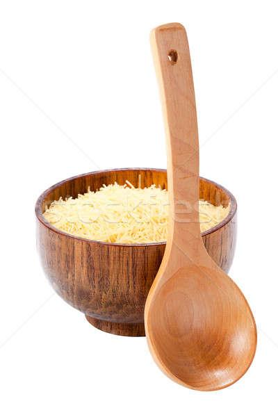 Tigela macarrão colher isolado branco comida Foto stock © alexandkz