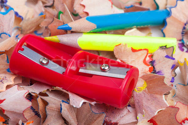 Colored pencil shavings and sharpener Stock photo © alexandkz