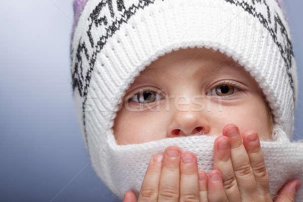 Nina cara bufanda caliente nina ojos Foto stock © alexandkz
