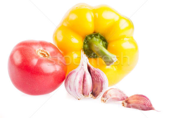 Fresh tomato, paprika and garlic isolated on white Stock photo © alexandkz