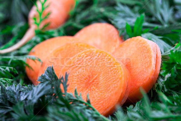 Kort wortel groene voedsel jonge eten Stockfoto © alexandkz
