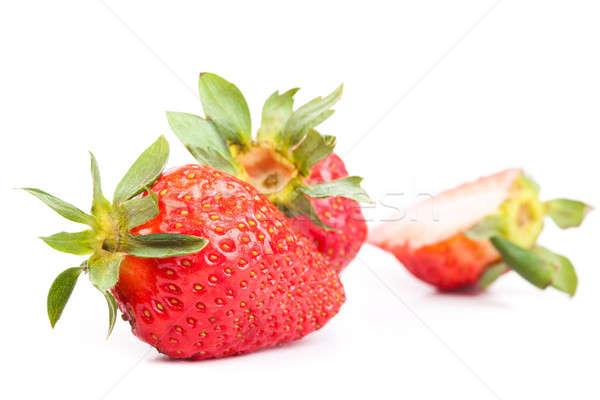 Grande morango isolado branco comida folha Foto stock © alexandkz