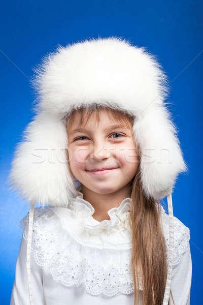 Retrato adorável menina branco inverno Foto stock © alexandkz