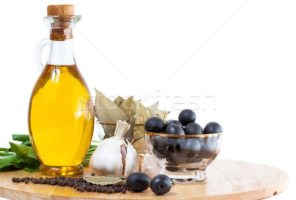 Huile d'olive bouteille épices alimentaire soleil Photo stock © alexandkz