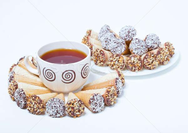 Fincan çay dondurma bakmak gibi kurabiye Stok fotoğraf © alexandkz