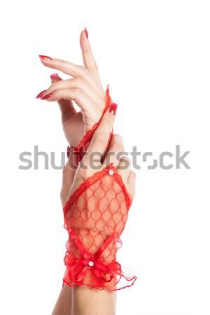 Femme rouge dentelle gants isolé blanche Photo stock © alexandkz