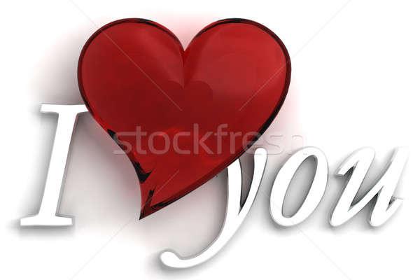 Liefde hart illustratie glas achtergrond romantiek Stockfoto © alexandkz
