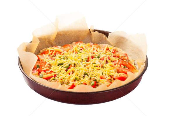 Pizza italien cuisine studio isolé blanche Photo stock © alexandkz