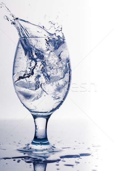 Splash Ice Cube glas water geïsoleerd witte Stockfoto © alexandkz