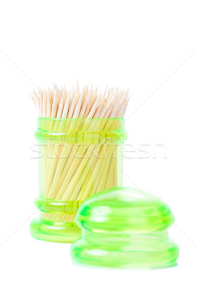 Toothpick in green container isolated on white Stock photo © alexandkz