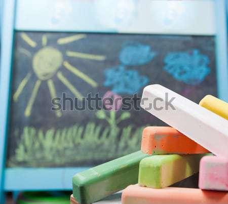 Couleur craie Kid photos livre école Photo stock © alexandkz