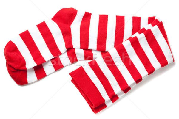 Comb piros fehér csíkos divat vicces Stock fotó © alexandkz
