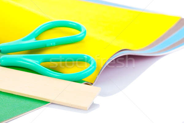 Scissor, ruler and paper sheets isolated Stock photo © alexandkz