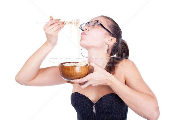 Joli femme d'affaires manger isolé blanche Photo stock © alexandkz