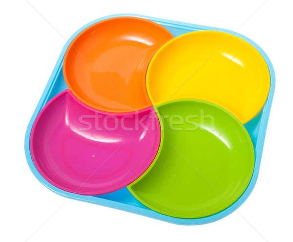 Ingesteld platen geïsoleerd keuken groene Blauw Stockfoto © alexandkz
