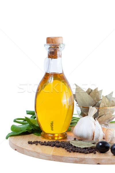 Huile d'olive bouteille épices bois cuisine Photo stock © alexandkz