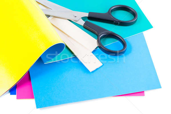 scissors with colorful paper isolated over white background Stock photo © alexandkz