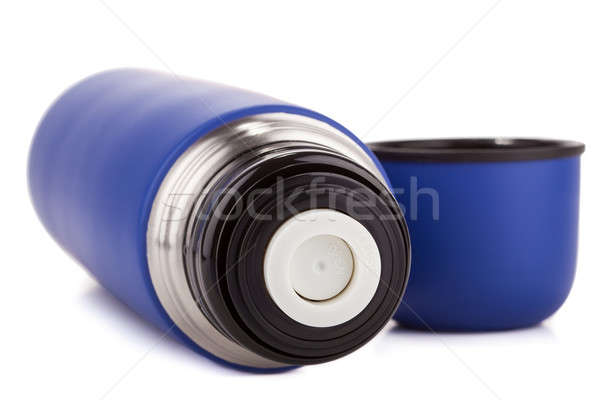 Blue plastic covered metal thermos isolated on a white background Stock photo © alexandkz