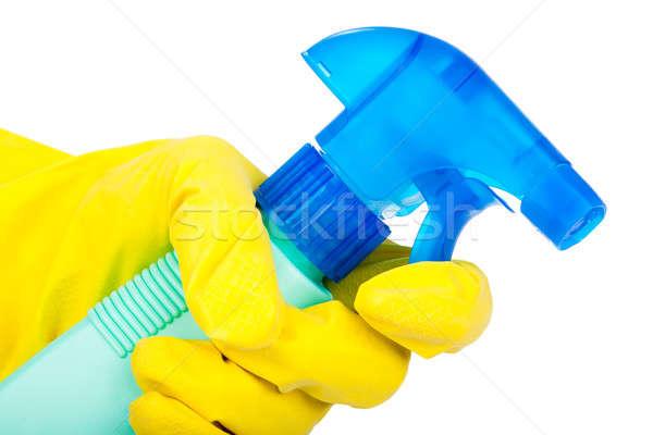 Hände Gummihandschuhe halten Reinigung Spray isoliert Stock foto © alexandkz