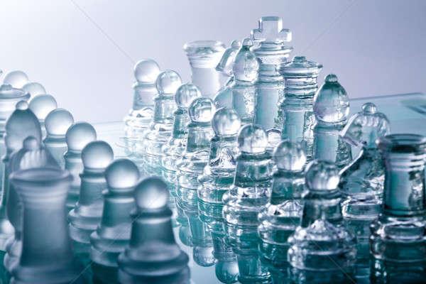 Vidro xadrez transparente peças de xadrez guerra equipe Foto stock © alexandkz