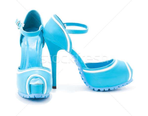 Chaussures femme isolé blanche noir cuir Photo stock © alexandkz